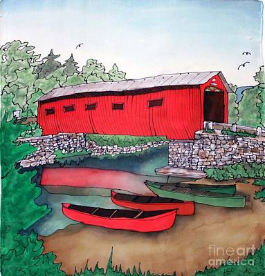 Covered Bridge And Canoes Art Print by Linda Marcille