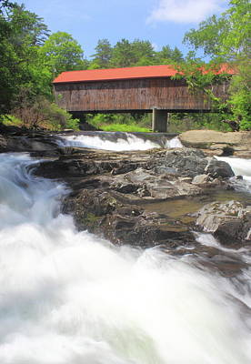 Photograph - Covered Bridge And Falls Thetford Vermont by John Burk