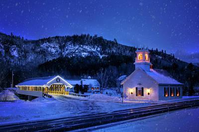 Photograph - Covered Bridge And White Church - Stark, Nh by Joann Vitali
