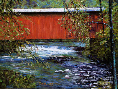 Covered Bridge And  Wissahickon Creek Art Print by Joyce A Guariglia
