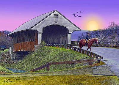Digital Art - Covered Bridge At Dusk by Nancy Griswold