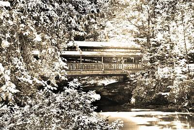 Photograph - Covered Bridge At Lanterman's Mill Black And White by Lisa Wooten