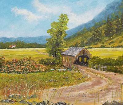 Painting - Covered Bridge At Little Creek by Michael Dillon