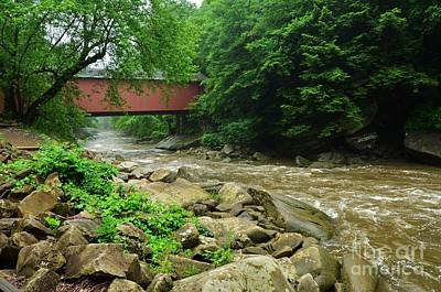 Photograph - Covered Bridge At Mcconnels Mill - 1 by Bob Sample