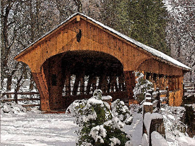 Photograph - Covered Bridge At Olmsted Falls-winter-2 by Mark Madere