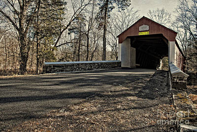 Covered Bridge At Stover Mill Art Print