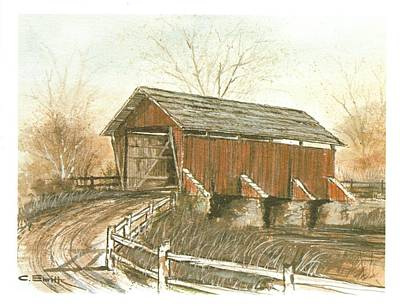 Covered Bridge Art Print by Charles Roy Smith