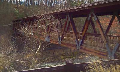Digital Art - Covered Bridge Impressionist Digital Art by Randy Herring