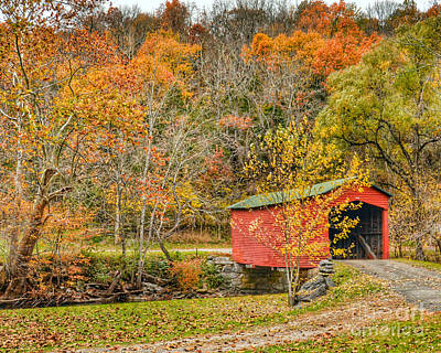 Photograph - Covered Bridge In Autumn by Kerri Farley