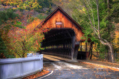 Autumn In New England Photograph - Covered Bridge In Autumn - Woodstock Vermont by Joann Vitali