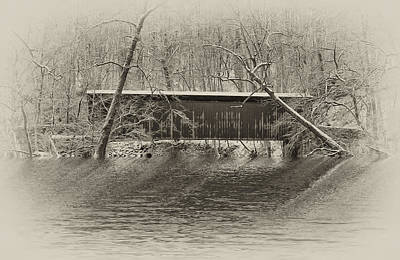 Covered Bridge In Black And White Art Print by Bill Cannon