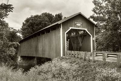 Photograph - Covered Bridge In Canada Sepia Tone by Mel Steinhauer