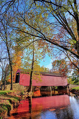 Animals Royalty-Free and Rights-Managed Images - Covered Bridge in Maryland in Autumn by Patrick Wolf