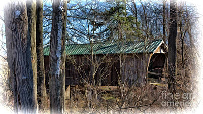 Photograph - Covered Bridge In Ohio Woods by Janice Rae Pariza