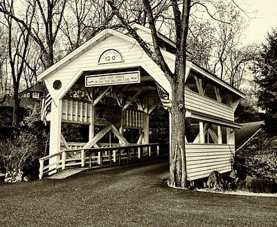 Covered Bridge In Skippack Pennsylvania In Sepia Art Print by Bill Cannon