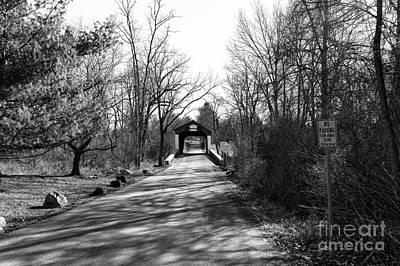 Solebury Photograph - Covered Bridge In The Distance Mono by John Rizzuto