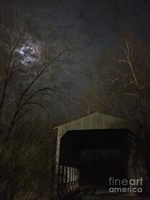 Photograph - Covered Bridge In The Moonlight by Rachel Hannah