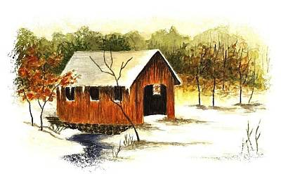 Covered Bridge In The Snow Art Print by Michael Vigliotti