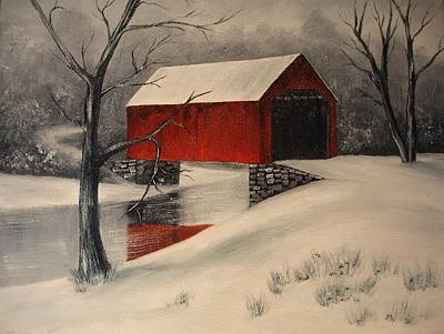 Covered Bridge Painting - Covered Bridge In The Snow by Rosie Phillips