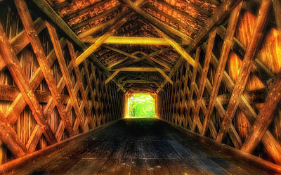 Photograph - Covered Bridge Interior by Carolyn Derstine