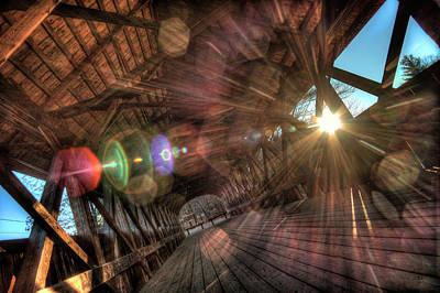 Digital Art - Covered Bridge Kaleidoscope by Patrick Groleau