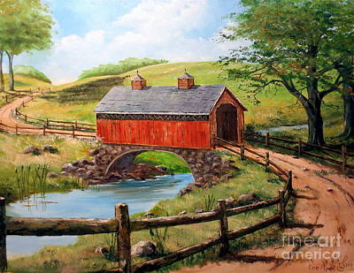 Painting - Covered Bridge Country Farm Folk Art Landscape by Lee Piper