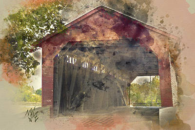 Photograph - Utica Mills Covered Bridge by Malcolm L Wiseman III