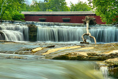 Photograph - Covered Bridge Over Cataract Falls by Adam Jewell