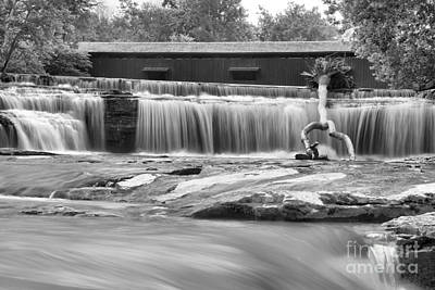 Photograph - Covered Bridge Over Cataract Falls Black And White by Adam Jewell