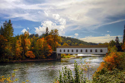 Photograph - Covered Bridge Over Mckenzie River Oregon by David Gn