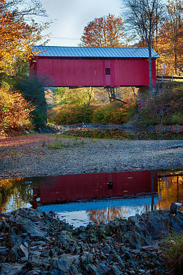 Covered Bridge Reflection In Vermont Art Print by Jeff Folger