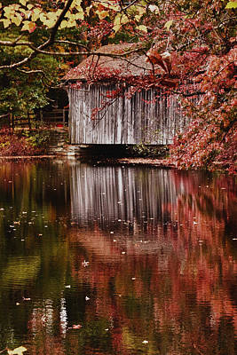 Photograph - Covered Bridge Reflection by Jeff Folger
