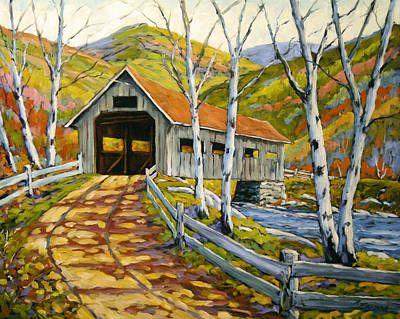 Art For Sale Painting - Covered  Bridge  by Richard T Pranke
