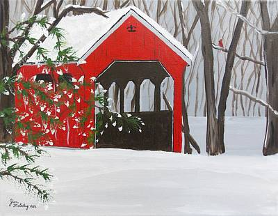 Covered Bridge Painting - Covered Bridge Visitor by Janice Molesky