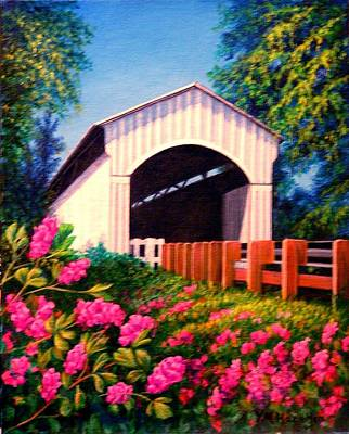 Covered Bridge Painting - Covered Bridge With Flowers by Yvonne Hazelton