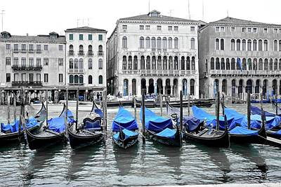 Covered Gondolas In Blue Art Print