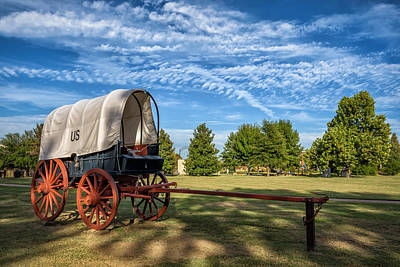 Photograph - Covered Wagon And Blue Sky by James Barber