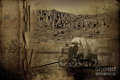 Photograph - Covered Wagon Black And White by David Arment