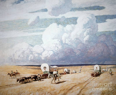 Migration Painting - Covered Wagons Heading West by Newell Convers Wyeth