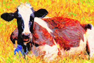 Cows Photograph - Cow 412 At Rest . Photoart by Wingsdomain Art and Photography