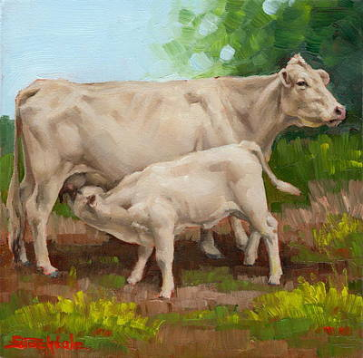 Painting - Cow  And Calf In Miniature  by Margaret Stockdale