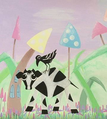 Drawing - Cow And Crow In The Land Of Mushrooms by Briony Dixon