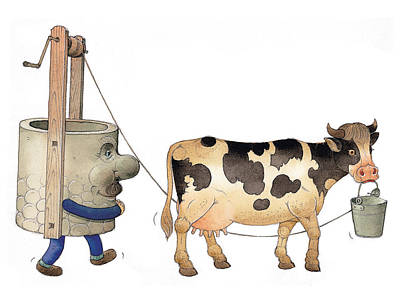 Thirst Painting - Cow And Well02 by Kestutis Kasparavicius