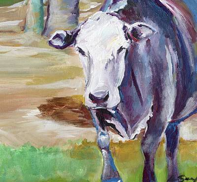 Abstract Realism Painting - Cow by Anne Seay