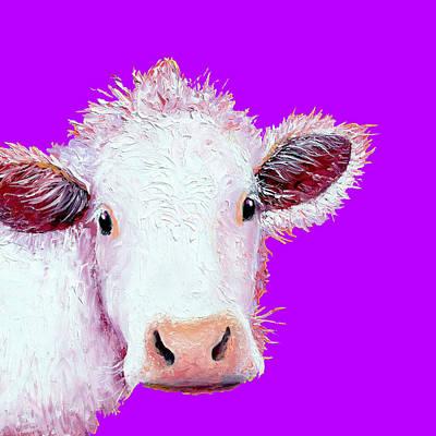 Cow Art Painting - Cow Art - Charolais On Purple by Jan Matson