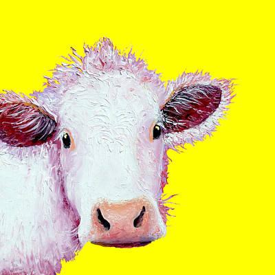Painting - Cow Art - Charolais On Yellow by Jan Matson