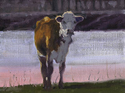 Cow At The Pond Art Print by John Reynolds