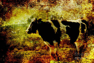 Photograph - Cow Atop Hill 2 . Texture by Wingsdomain Art and Photography