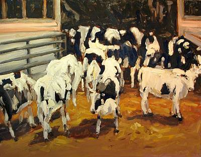 Cattle Painting - Cow Barn by Brian Simons