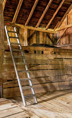 Hard Cider Wall Art - Photograph - Cow Barn Ladder by Tom Singleton